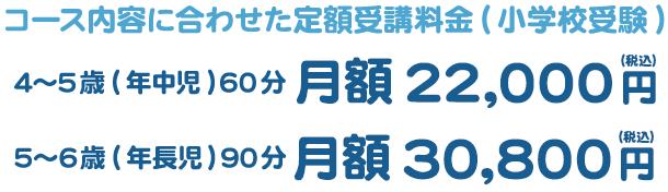 コース内容に合わせた定額受講料金(小学校受験) 4~5歳(年中児) 60分 月額22,000円 5~6歳(年長児) 90分 月額30,800円