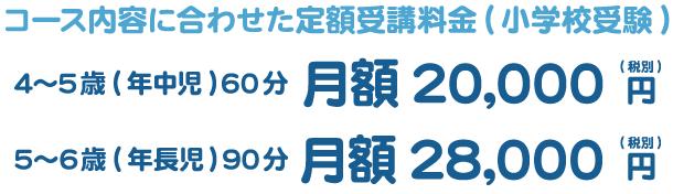 コース内容に合わせた定額受講料金 5~6歳(年長児) 90分 20,000円〜28,000円 4~5歳(年中児) 60分 16,000円〜20,000円