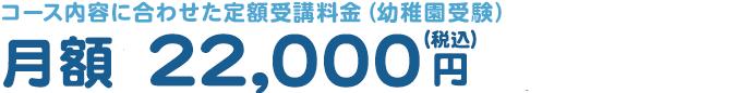 コース内容に合わせた定額受講料金(幼稚園受験) 月額 16,000円〜20,000円(税別)